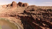 oblouk : The City of Moab Utah, United States. Red rock landscapes, Colorado River. Aerial view, from above, drone shot