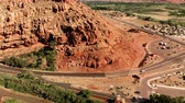 sudoeste : The City of Moab Utah, United States. Red rock landscapes, Colorado River. Aerial view, from above, drone shot