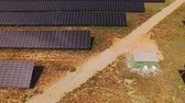 coletor : AERIAL: Flying above large power plant with sun reflecting in solar panels
