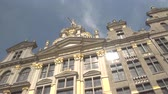 refletindo : CLOSE UP, LOW ANGLE VIEW: Beautiful picturesque view of richly ornamented buildings at Great Market, Brussels, Belgium. Fascinating detailed historic architecture of guildhall on Grote Markt square Stock Footage