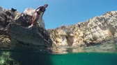 yarım : HALF UNDERWATER SLOW MOTION CLOSE UP: Happy young woman jumping headfirst into water off a rocky ocean cliff at sunny seaside. Cheerful girl on fun summer vacation diving in refreshing sea head first