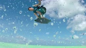 kiting : SLOW MOTION: Happy smiling kite surfer jumping high, splashing the turquoise ocean on sunny day. Extreme cheerful kiteboarder man kiting and jumping indie grab in blue lagoon on summer vacation Stock Footage