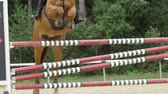 riding arena : SLOW MOTION, CLOSE UP: Chestnut horse jumping over fence and performing in competitive jumping event in outdoors sandy parkour riding arena. Unrecognizable person riding powerful gelding Stock Footage