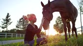 уздечка : SLOW MOTION CLOSE UP LOW ANGLE VIEW: Pretty blonde girl sitting on the ground, petting and scratching her strong brown horse on stunning sunny evening. Cute young horsegirl caressing gelding at sunset