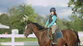 riding arena : SLOW MOTION, CLOSE UP: Courageous young girl horseback riding beautiful dark brown mare trotting in outdoors manege at horse ranch. Youngster rider exercising, learning and training at riding school Stock Footage