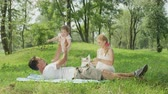 bezmotorové létání : SLOW MOTION, CLOSE UP, DOF: Happy young dad lying on blanket and playing airplane with cheerful sweet baby girl. Beautiful smiling mum sitting beside and playing with cute little pet dog chasing stick