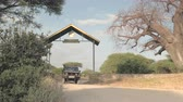 тележка : TARANGIRE, TANZANIA - JUNE 10, 2016: Park employees driving empty safari jeep and leaving wildlife Tarangire National Park to pick up new group of tourists and travelers for interesting game drive