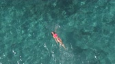 AERIAL: Attractive young Caucasian woman in pink bikini swimming backstroke in beautiful turquoise ocean. Sun rays penetrating sparkling transparent water revealing stunning rocky and sandy sea bottom Stok Video