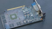 Slow panorama of GPU (graphic processing unit) circuit board. Vídeos
