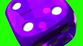 large number of : Purple Dice On Green Chroma Key.Loop able 3D render Animation.