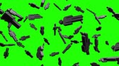 пиктограмма : Black Human Shaped Objects On Green Chroma Key.Loop able 3D render Animation.