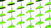 fashion : Green Umbrellas On White Background.Loop able 3D render Animation.