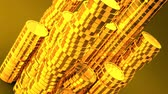 consecutivo : Gold Coins On Yellow Background.Loop able 3D render Animation. Vídeos