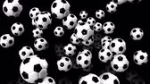 arremesso : Bouncing Soccer Balls On Black Background Vídeos