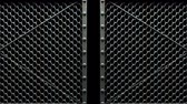 encerramento : Wire Mesh Gates On Black Background Vídeos