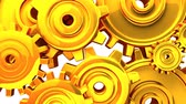 tloušťka : Gold Gears On White Background.3DCG rendering animation that can loop.