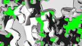 darabok : Silver Jigsaw Puzzle On Green Chroma Key Stock mozgókép