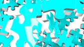 beyaz üzerine : Pale Blue Jigsaw Puzzle On White Background