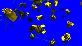 clave : Falling Yellow Roses On Blue Chroma Key