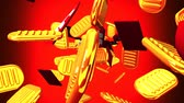 brilho : Oval gold coins and bags on red background. Loop able 3D render Animation. Vídeos