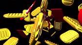 обычай : Oval gold coins and bags on black background. Loop able 3D render Animation.