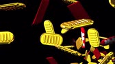 brilho : Oval gold coins and bags on black background. Loop able 3DCG render animation.
