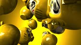 servet : Yellow daruma dolls on yellow background Stok Video
