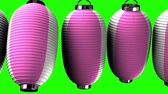 hábil : Pink and white paper lanterns on green chroma key. Loop able 3D render Animation. Vídeos
