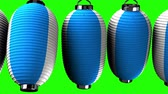 chave : Blue and white paper lanterns on green chroma key. Loop able 3D render Animation.
