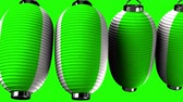 şenlik : Green and white paper lanterns on green background. Loop able 3D render Animation.Horizontal scrolling camera view. Stok Video