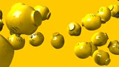 dicton : Yellow daruma dolls on yellow background. Loop able 3D render animation.