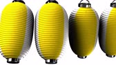 nepřetržitý : Yellow and white paper lanterns on white background. Loop able 3D render animation. Horizontal scrolling camera view.