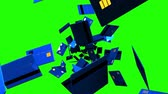 card : Blue Credit cards on green chroma key. Loop able 3D render animation. Stock Footage