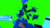 correio : Blue Credit cards on green chroma key Stock Footage