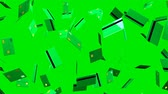 Green Credit cards on green background.Loop able 3D render animation.