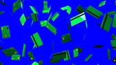 Green Credit cards on blue chroma key.Loop able 3D render animation.