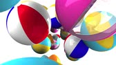 Colorful beach balls on white background.3D render animation.