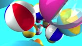 Colorful beach balls on blue background.3D render animation.
