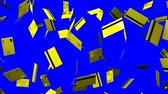correio : Yellow Credit cards on blue chroma key.Loop able 3D render animation. Stock Footage