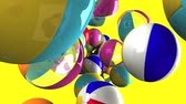 entreter : Colorful beach balls on yellow background.Loop able 3D render animation.
