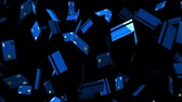 Blue Credit cards on black background.Loop able 3D render animation.