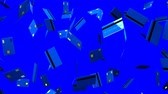 банкротство : Blue Credit cards on blue background.Loop able 3D render animation.