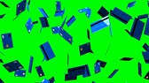 Blue Credit cards on green chroma key.Loop able 3D render animation.