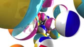 hábil : Colorful beach balls on white background.Loop able 3D render animation.