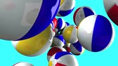 Beach balls on blue background.Loop able 3D render animation.
