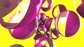 Beach balls on yellow background.Loop able 3D render animation.