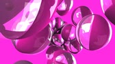contínuo : Beach balls on pink background.Loop able 3D render animation.