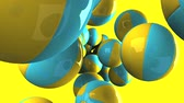 hábil : Colorful beach balls on yellow background.Loop able 3D render animation.
