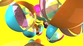 beach ball : Colorful beach balls on yellow background.3D render animation. Stock Footage