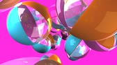 Colorful beach balls on pink background.3D render animation.